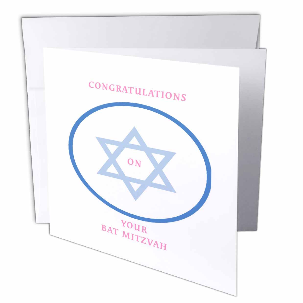 3dRose Bat Mitzvah Girl, Greeting Cards, 6 x 6 inches, set of 12