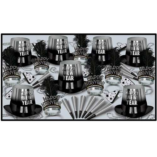 New Year's Eve Silver Entertainer Party Kit for 50
