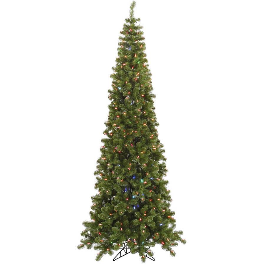 Color Switch Christmas Tree: Vickerman Pre-Lit 7.5' Pencil Pine Artificial Christmas