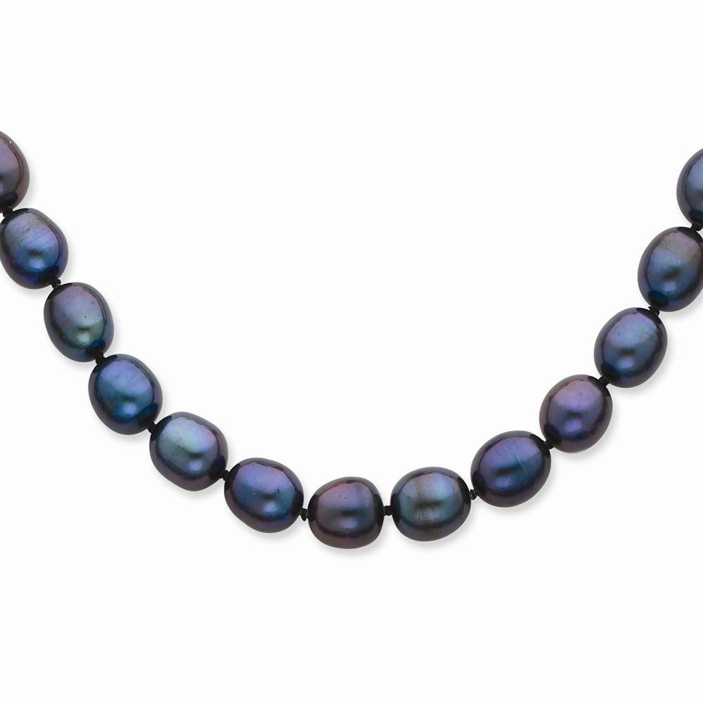 14k Yellow 20in Gold 8-8.5mm Black Freshwater Cultured Pearl Necklace.