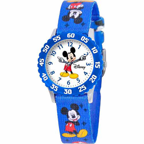 Disney Mickey Mouse Boys' Stainless Steel Watch, Blue Strap