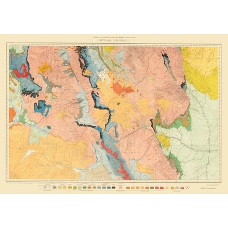 Old Topographical Map Print   Colorado  Central Colorado Geological   Usgs 1881   23 X 32 68