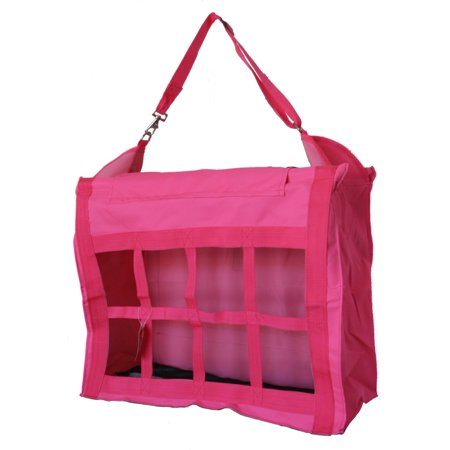 Horse Feed Hay Bag Tote with Dividers Heavy Duty Canvas Nylon Hot Pink