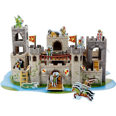 Melissa & Doug Medieval Castle 3-D Puzzle and Play Set - Dragon and Knights (100 pcs) (Melissa Lady Dragon)