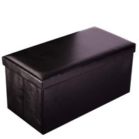 Ktaxon Folding Leather Rectangle Storage Ottoman Brown Footstool Home Decor Space Save