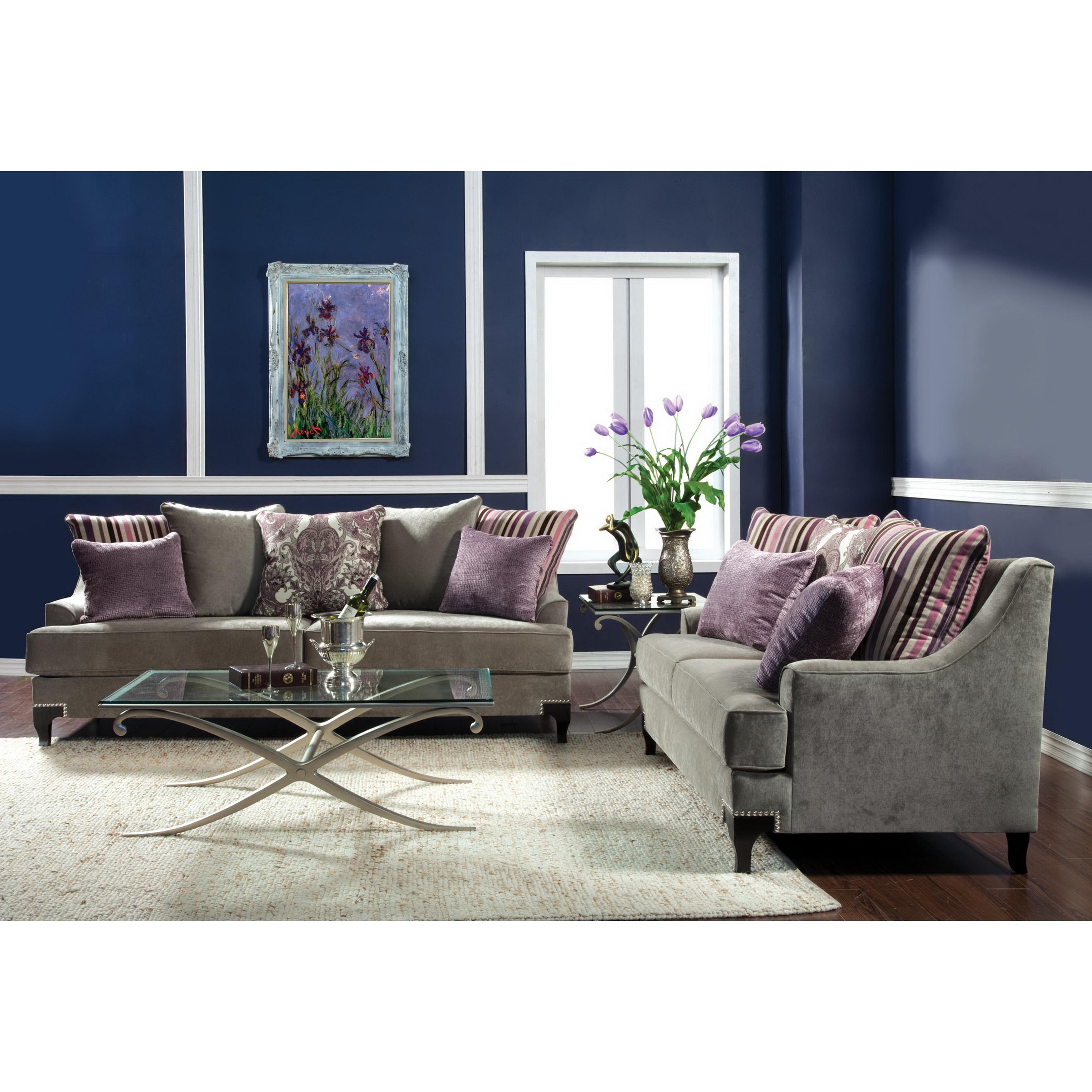 Furniture Of America Visconti Modern 2 Piece Velvet Sofa And