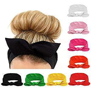 8pcs Women Headbands Turban Headwraps Hair Band Bows Accessories for Fashion Or Sport (Solid Color) (Martian Headband)