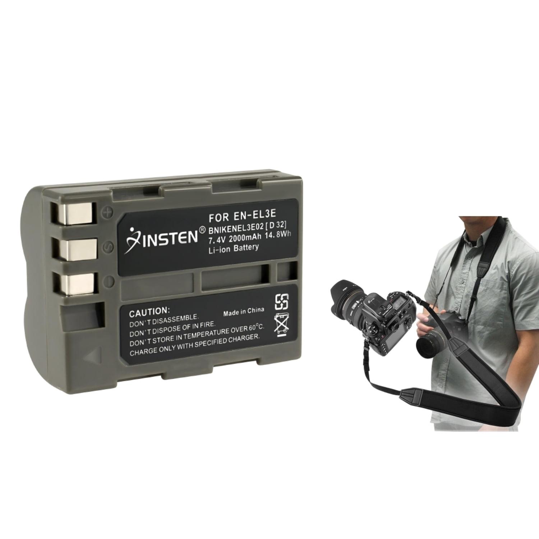 Insten 2 X BATTERY FOR NIKON EN-EL3e D50 D70 D70S D80+Strap