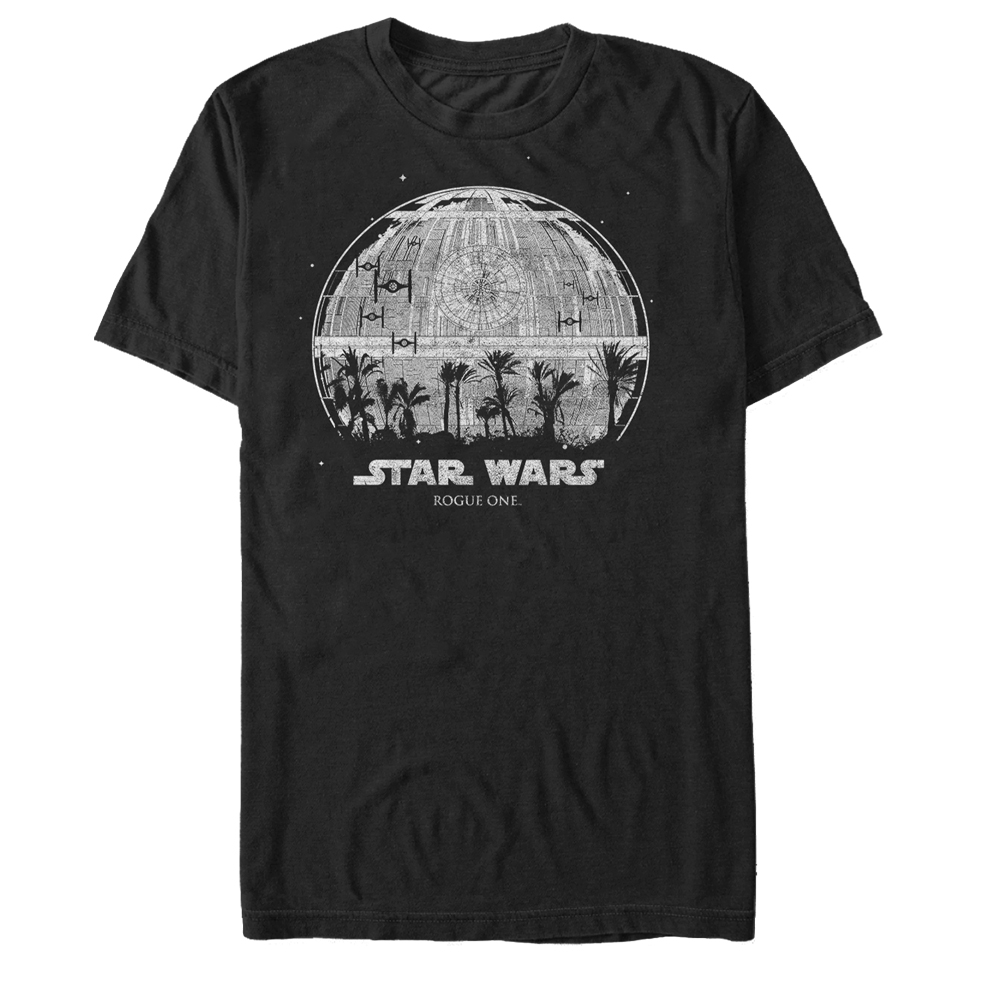 Star Wars Rogue One Death Star Palm Tree Silhouette Mens Graphic T Shirt