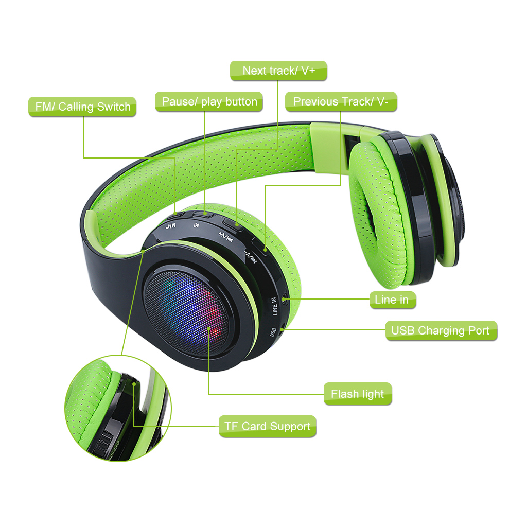 Excelvan Bluetooth Headphones Over Ear, Folding Wireless Earbuds Noise Cancelling LED Stereo Headphones Adjustable Sport Headsets for Men and Women (Green)