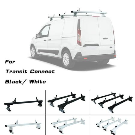 "AA-Racks Model AX302-TR Transit Connect 2014-Newer Aluminum 1 Bar (50"") Van Roof Rack System With Ladder Stopper Black (AX302-50(1)-BLK-TR)"