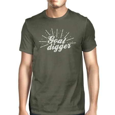 Goal Digger Mens Cool Grey Lightweight Cotton T-Shirt Gag Gift (Mens Cool Cotton Breech)