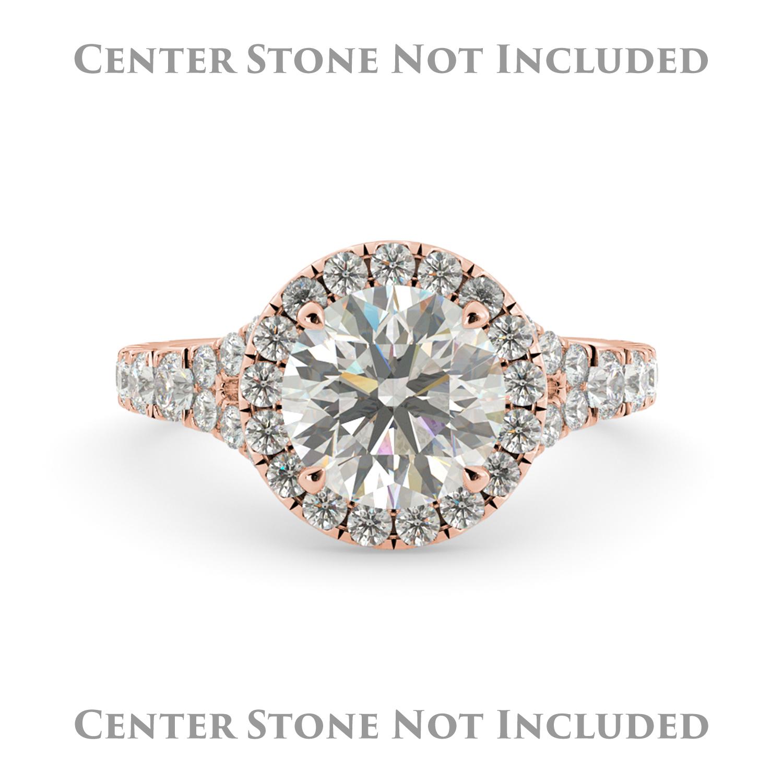 J&H Round Halo Pave Diamond Semi Mount Engagement Ring Ba...