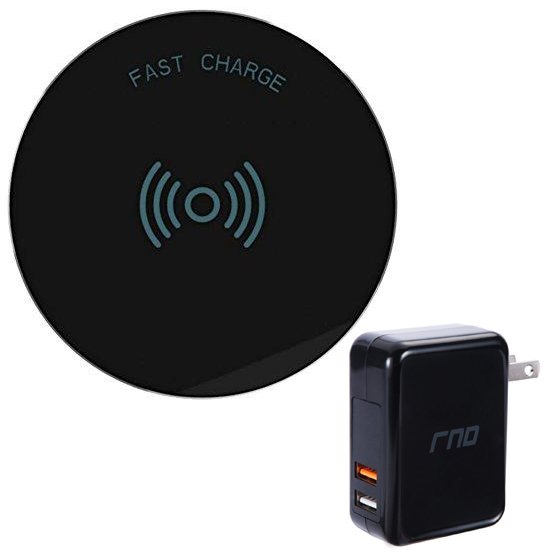 RNDs Fast Charge Wireless Charging Pad for Apple iPhone (8, 8 Plus, X, 10), Samsung Galaxy (S8, S8 Plus, S7, S6), Note 8, LG (G6, V30) and other QI Enabled Devices (Dual Charger Included) (black)
