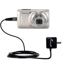 Gomadic Intelligent Compact AC Home Wall Charger suitable for the Olympus Stylus-7030 Digital Camera - High output power with a convenient, foldable p