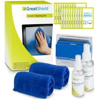 Screen Cleaning Kit, GreatShield LED LCD Electronic Cleaner with Microfiber Cloth, Cleaning Brush, Non-Streak Solution & Screen Wipes for TV, Computer Monitor, Laptop, Smartphone, Tablet & Lens