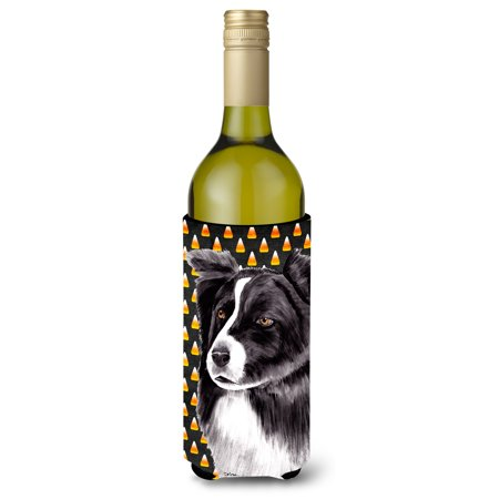 Border Collie Candy Corn Halloween Portrait Ultra Beverage Insulators for slim cans SC9177MUK - Halloween Corner Borders