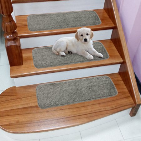 Ottomanson Comfy Collection Soft Solid Design Non-Slip Pet-Friendly Rug Set Stair Treads ()