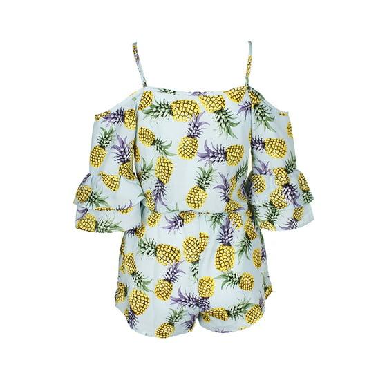 5bf3066d6a MikenSwim - Miken Swim Mint Yellow Pineapple-Print Cold-Shoulder ...