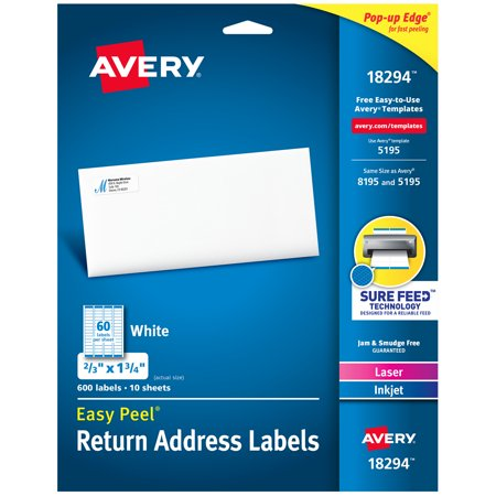 Avery Easy Peel Address Labels, 2/3