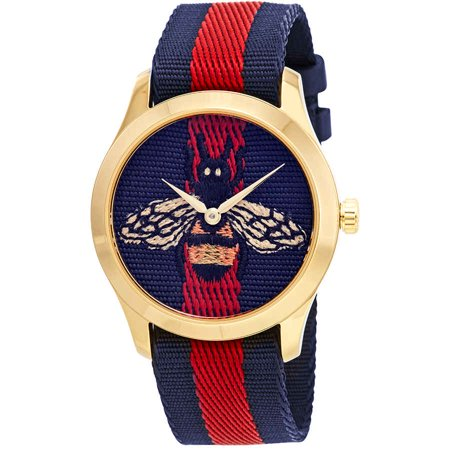 Gucci Blue Watch (Gucci G-Timeless Blue and Red Dial wth an Embroidered Bee Ladies Watch YA1264061)