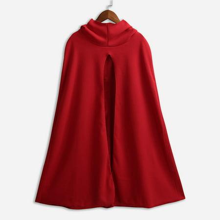 Mode femmes capuche col roulé cru cape manteau plus la taille noël halloween cosplay costume automne hiver châle pardessus manteaux occasionnels - image 7 of 7