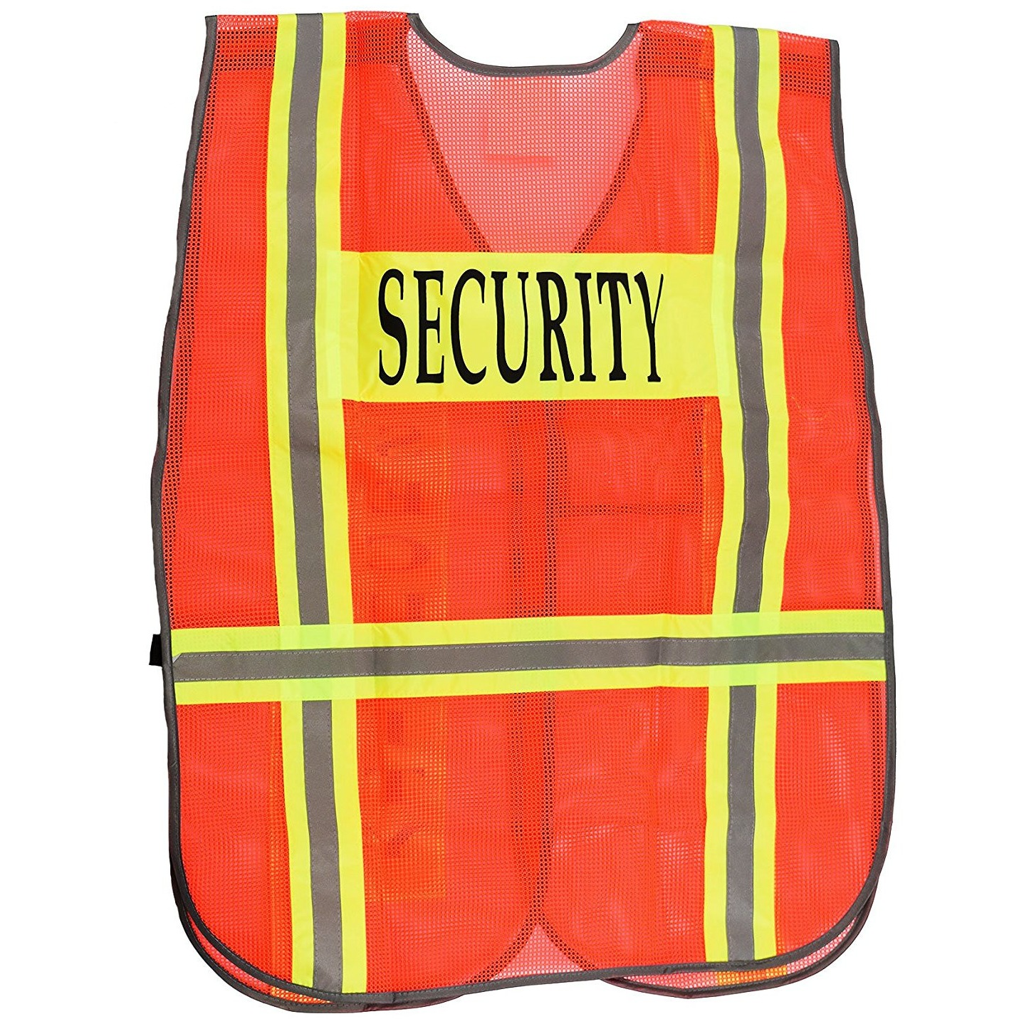 Security Safety Vest with Reflective Strips, One Size Fits All - Neon Orange / 50-Pack
