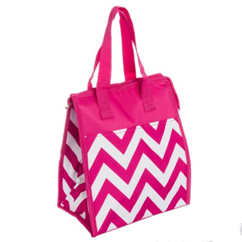 Womens Fuchsia & White Chevron Nylon Insulated Lunch Tote Bag Handbag Purse NEW