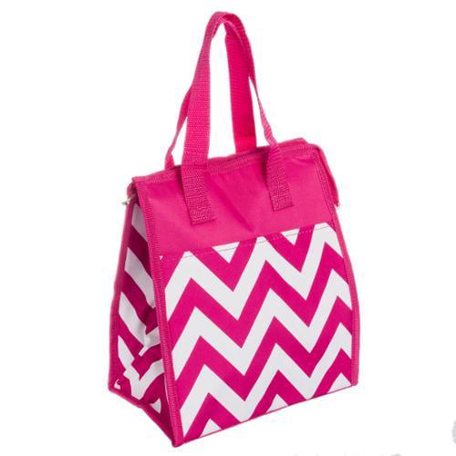Womens Fuchsia & White Chevron Nylon Insulated Lunch Tote Bag Handbag Purse NEW
