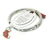 Joy of Christmas - Stocking Charm Silver Tone Stretch Bangle Bracelet