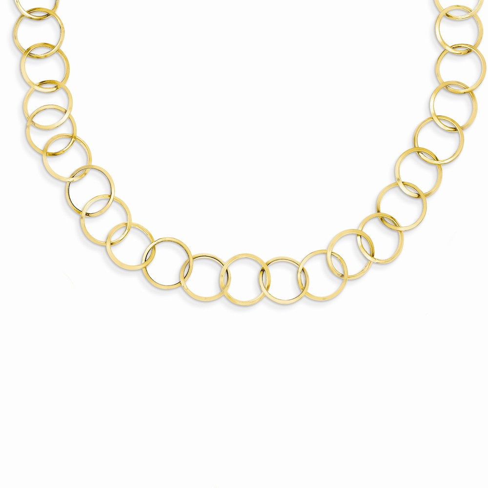 14k Yellow Gold 18in Circle Link Necklace