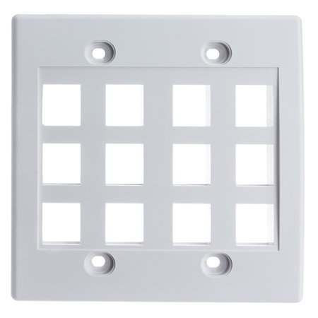 ACCL Keystone 12 Port Dual Gang Wall Plate White 25pk