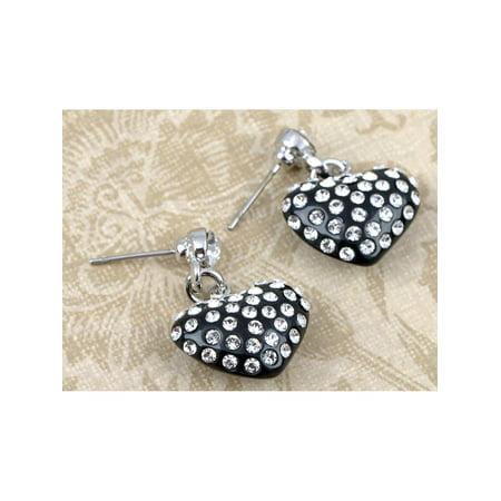 Womens Fashion Jewelry Petite Crystal Elements Encrusted Black Heart Drop Earrings