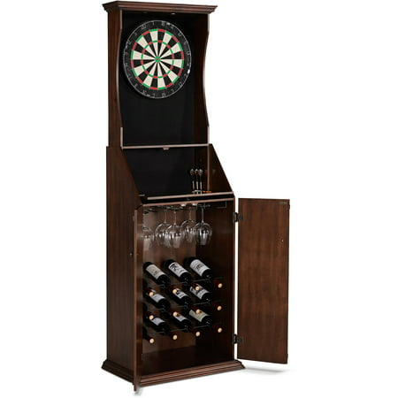 Barrington Bristle Dartboard Cabinet with Wine Storage & LED Lights ()