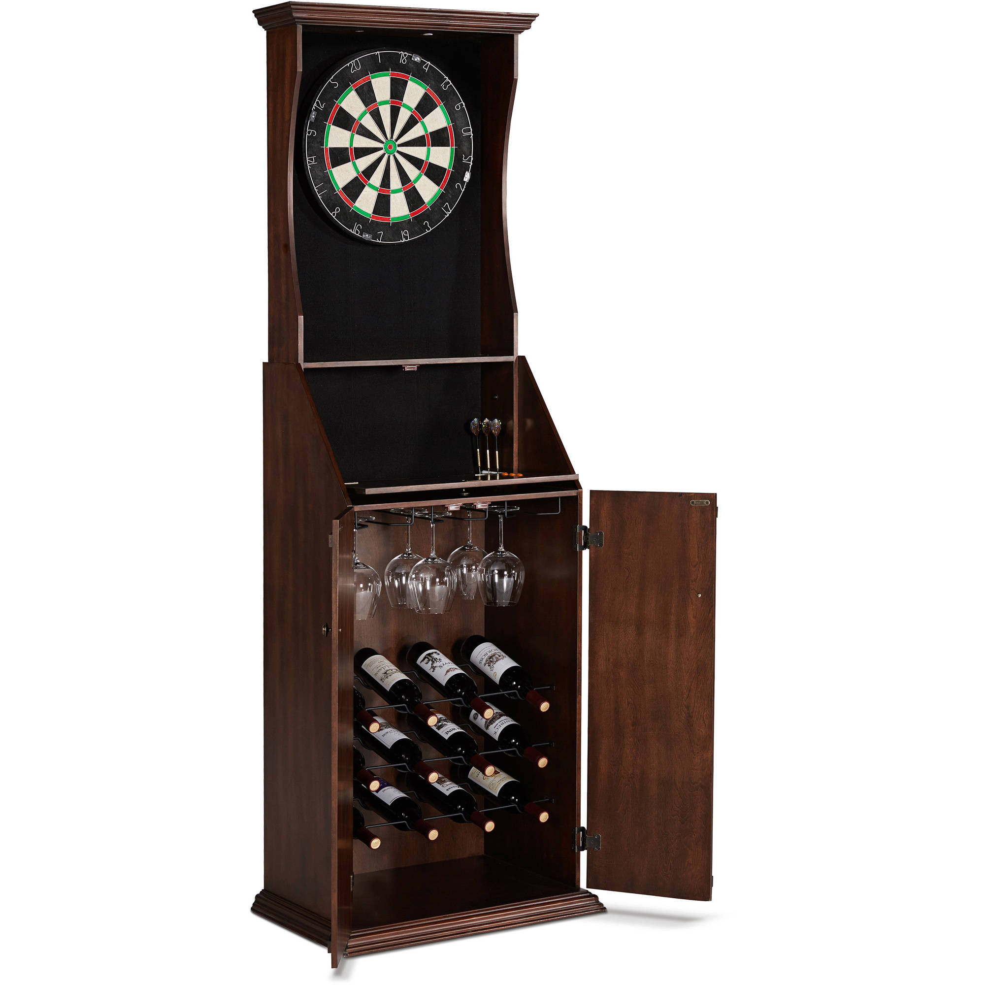 Barrington Bristle Dartboard Cabinet with Wine Storage & LED Lights