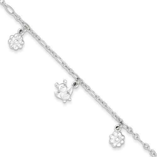 Sterling Silver Polished Bumblebee and Flower Bracelet