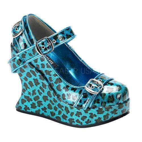BRA10 TUR CP Demonia Platform Sandals & Shoes Womens Turquoise Gltr Size: 9 by