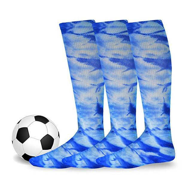 Soxnet Cotton Unisex Soccer Sports Team Socks 3 Pack Large 10-13 , Tie Dye Black