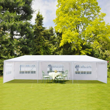 Gazebo Tent, 10' x 30' Ez Pop up Canopy Tent with 5 Side Walls, Heavy Duty Outdoor Party Wedding Tent, Portable Shade Instant Folding Canopy - UV Coated, Waterproof Gazebo (Proof Shades)