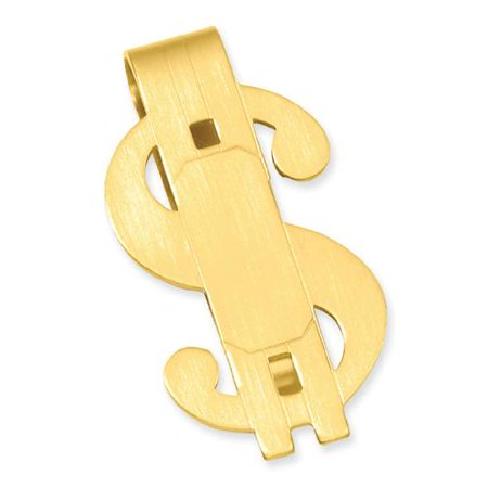 Half Dollar Money Clip - Gold-plated Satin Finish Dollar Sign Engravable Money Clip