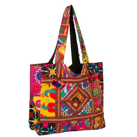 Tribe Azure Colorful Floral Boho Large Shoulder Bag Tote Women Handbag Purse Fashion Casual Spacious Unique Tassel Flower Market School Beach Summer Books Travel (Red)