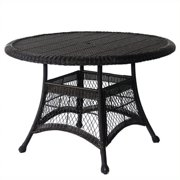 "Jeco Wicker 44"" Round Dining Table in Espresso"