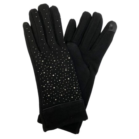 David & Young Womens Black Sparkle Rhinestone Stretch Fit Texting & Tech Gloves ()