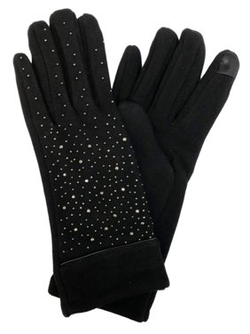 David & Young Womens Black Sparkle Rhinestone Stretch Fit Texting & Tech Gloves