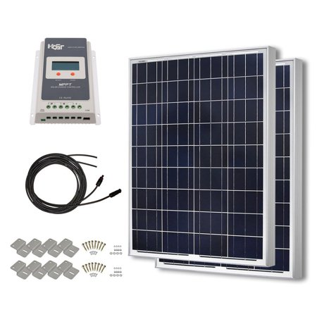 HQST 200 Watt 12 Volt Polycrystalline Solar Panel Kit with 20A PWM LCD Display Charge