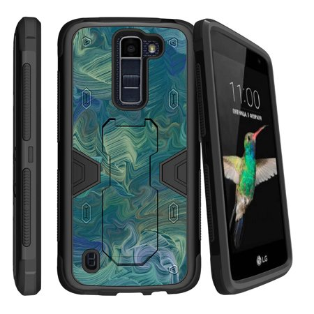 Arctic Paper Twist - LG K8 | Escape 3 Dual Layer Shock Resistant MAX DEFENSE Heavy Duty Case with Built In Kickstand - Twisted Arctic