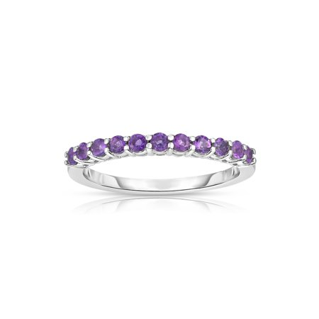 14K White Gold Amethyst (0.40 Ct) 11-Stone Stackable Ring