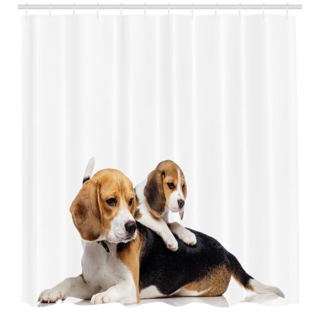 Beagle Shower Curtain Cute Family With Mother And Baby Puppy Domestic Fur Animal Photography
