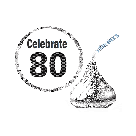 216 - 80th (Eighty) Birthday Party Favor Hershey's Kisses Stickers / Labels (80th Birthday Color)