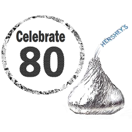 216 - 80th (Eighty) Birthday Party Favor Hershey's Kisses Stickers / Labels](80th Birthday Color)
